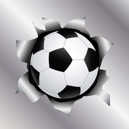 illustration of a soccer ball bursting trough a metal sheet effects.   Vector