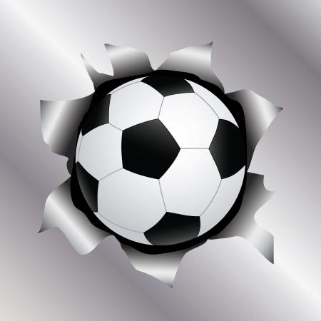 shiny metal: illustration of a soccer ball bursting trough a metal sheet effects.   Illustration