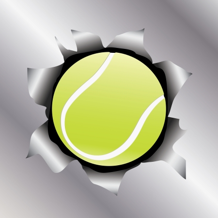 metal sheet: illustration of a tennis ball bursting trough a metal sheet effects.