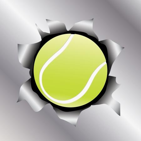 illustration of a tennis ball bursting trough a metal sheet effects. Stock Vector - 17852188