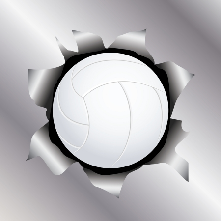 illustration of a volleyball bursting trough a metal sheet effects.   Vector