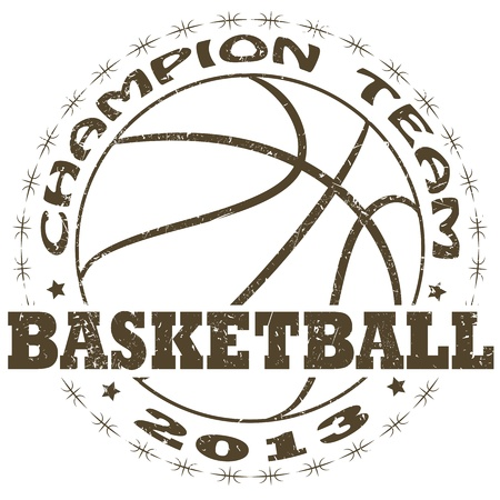 illustration of vintage basketball label   Vector