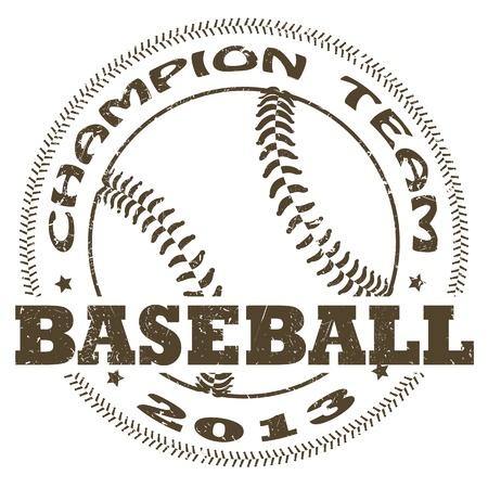 illustration of vintage baseball label Illustration