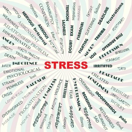 angoisse: souligner des facteurs contributifs, les causes, les sympt�mes, les effets, illustration conceptuelle Illustration