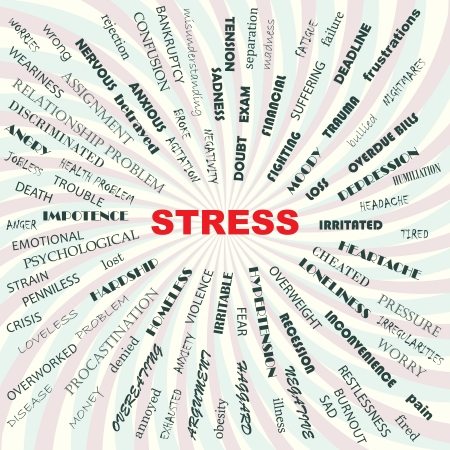 stress contributory factors, causes, symptoms, effects, conceptual illustration    Vector