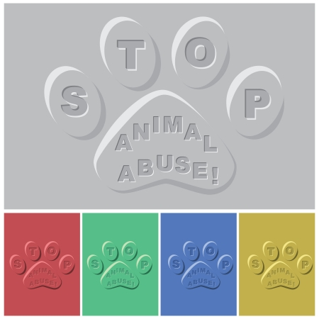 animal abuse: illustration of paws in different color sample with slogan - stop animal abuse inset    Illustration
