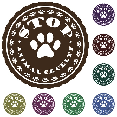 animal related: illustration of vintage pet related slogan, label, stamp with paws and text  stop animal cruelty  in it    Illustration