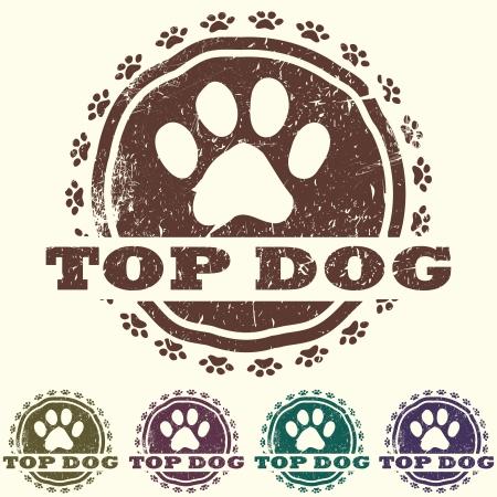 patas de perros: ilustración de la vendimia grunged mascota etiqueta relacionada con sello, con las patas y el texto en negrita peor de todos en lo