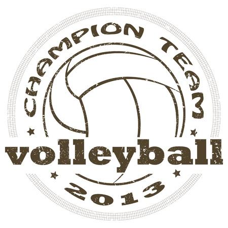 волейбол: Иллюстрация старинные этикетки волейбол спорта.