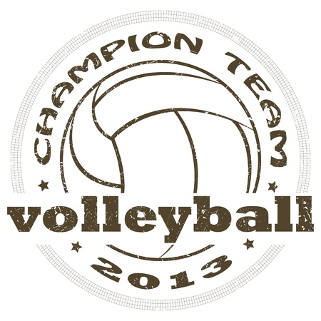 volleyball: illustration of vintage volleyball sport label .