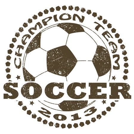ballon foot: illustration de l'�tiquette soccer sport vintage.