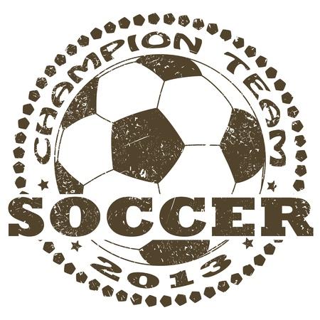 soccer ball: illustration of vintage soccer sport label .