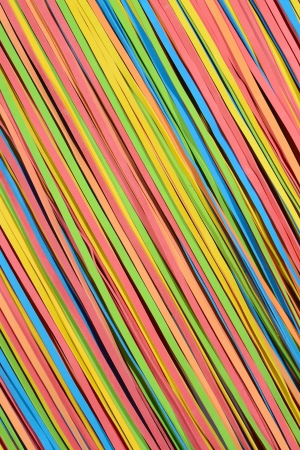 rubberband: vibrant small rubber strips arranged in diagonal pattern