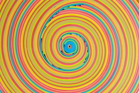rubberband: vibrant rubber strips arranged in circular pattern