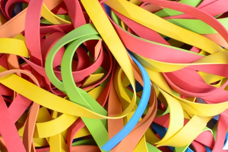 rubberband: colorful large stack of rubber straps, strips closeup  Stock Photo