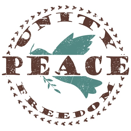 dove of peace: illustration of vintage peace label, stamp with dove and text unity and freedom around
