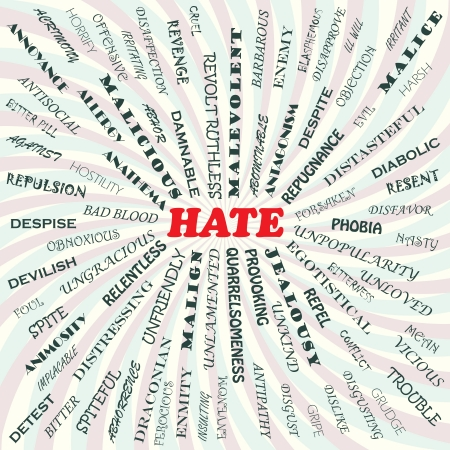 illustration of hate concept