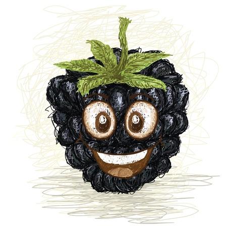 happy blackberry fruit cartoon character smiling    Vector