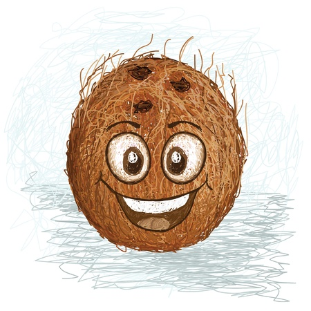 coco: happy brown coconut fruit cartoon character smiling    Illustration