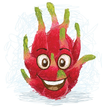 diet cartoon: happy red dragon fruit cartoon character smiling