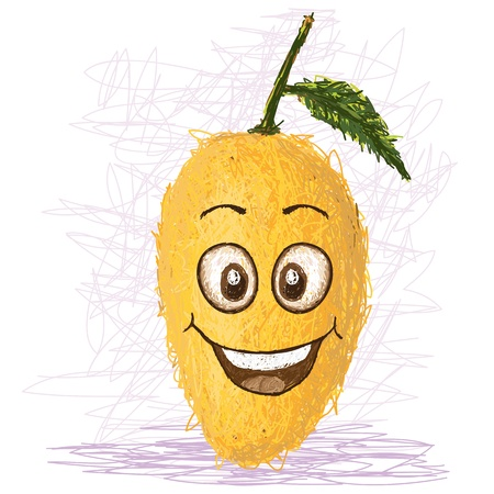 mangoes: happy yellow mango cartoon character smiling