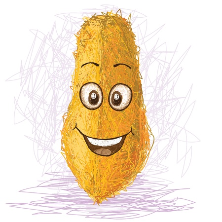 papaya: happy yellow papaya cartoon character smiling