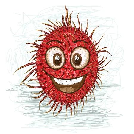 rambutan: happy red rambutan cartoon character smiling