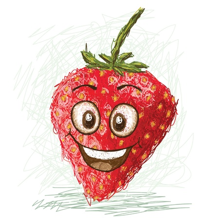 diet cartoon: happy red cartoon strawberry fruit character smiling    Illustration