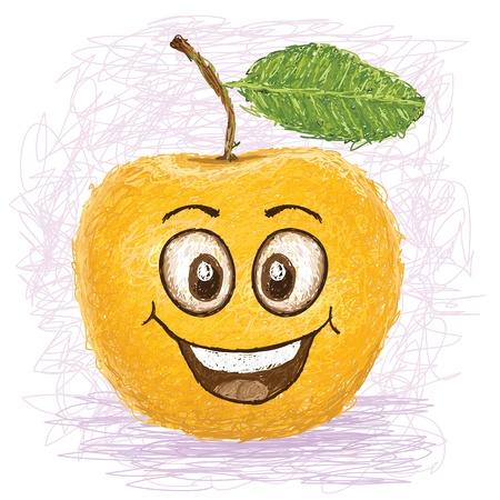 yellow apple: happy yellow apple cartoon character smiling