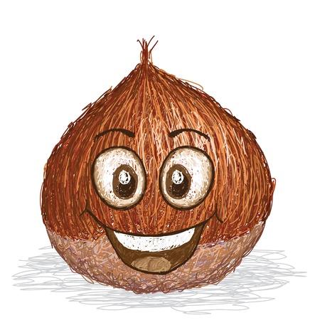 chestnut: happy brown chestnut cartoon character smiling    Illustration
