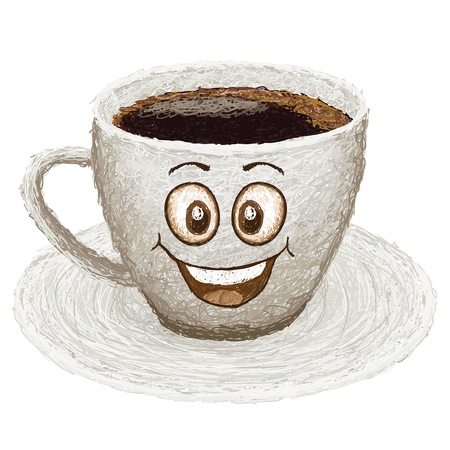 oxidant: happy cup of coffee cartoon character smiling