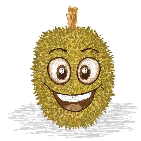 Durian: hạnh phúc nhân vật phim hoạt hình ăn quả sầu riêng vàng mỉm cười