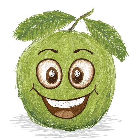 guava fruit: happy guava fruit cartoon character smiling