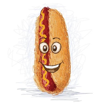hotdog: happy hotdog sandwich cartoon character smiling