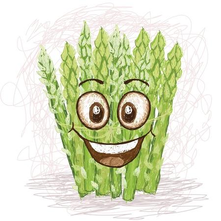 asparagus: happy asparagus vegetable cartoon character smiling