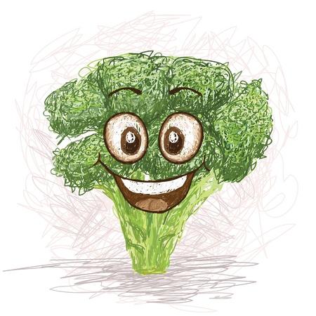 brocoli: brócoli personaje de dibujos animados feliz sonriendo vegetal Vectores