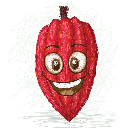 happy cacao fruit cartoon character smiling    Vector