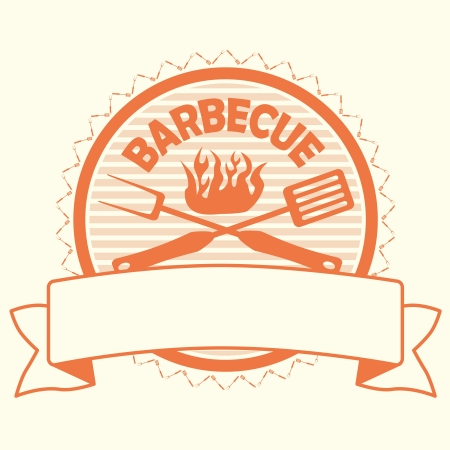 barbecue grill: illustration of barbecue label, stamp design element