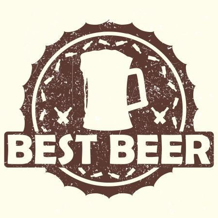 illustration of vintage brown beer label, stamp with text best beer    Vector