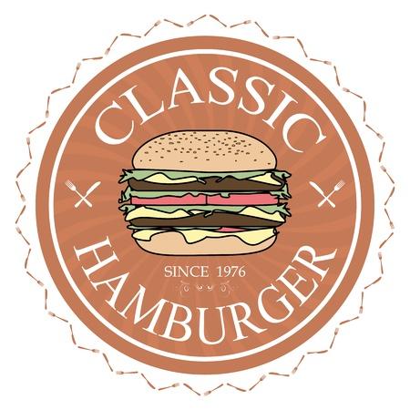 gourmet burger: illustration classic hamburger label stamp banner design element    Illustration