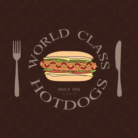 world class: illustration of classic vintage world class hotdogs sandwich label stamp design element    Illustration