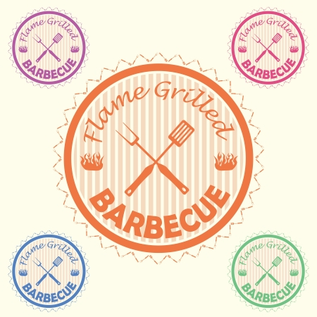 illustration of barbecue label, stamp design element with text flame grilled barbecue    Vector