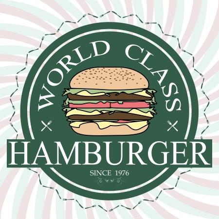world class: illustration world class hamburger label stamp banner design element