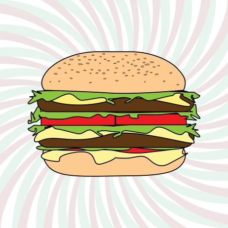 gourmet burger: illustration of classic hamburger design element