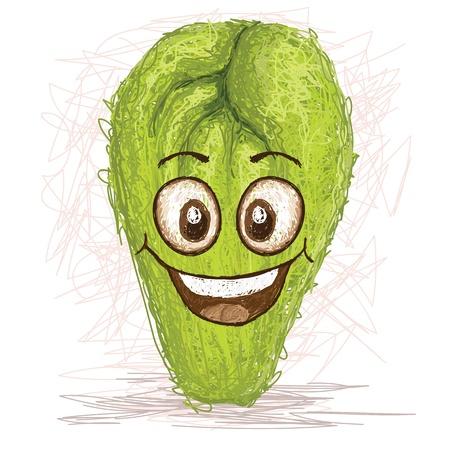 vegetable cartoon: chayote personaje de dibujos animados feliz sonriendo vegetal Vectores
