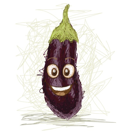 happy eggplant vegetable cartoon character smiling    Vector