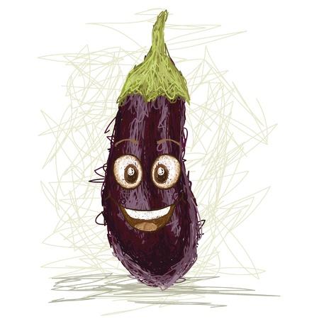 aubergine: happy eggplant vegetable cartoon character smiling    Illustration