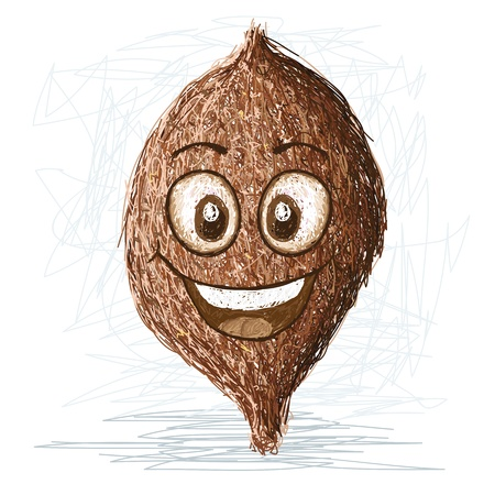 false: happy false durian nut cartoon character smiling    Illustration