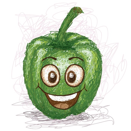 pimento: happy green bell pepper vegetable cartoon character smiling