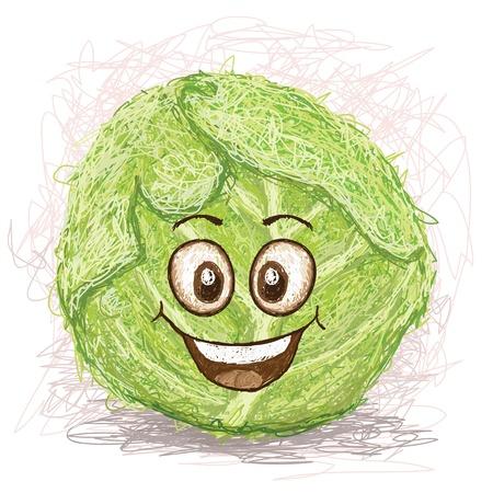 vegetable cartoon: repollo vegetales personaje de dibujos animados verde sonriente feliz Vectores